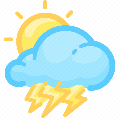 cloud, day, forecast, sun, thunderstorm, weather icon