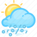 cloud, forecast, hail, rain, rainy, sun, weather icon