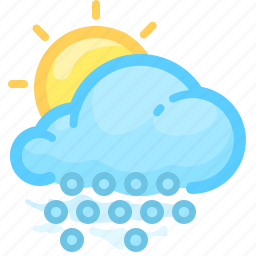 cloud, forecast, hail, shower, sun, weather, with icon