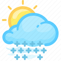 cloud, day, forecast, shower, snow, sun, weather icon