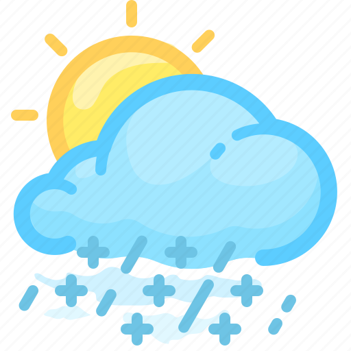 cloud, forecast, rainy, shower, snow, sun, weather icon