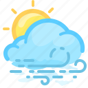 cloud, forecast, overcast, sun, weather, wind, windy