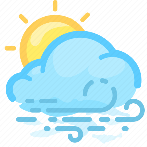 cloud, forecast, overcast, sun, weather, wind, windy icon
