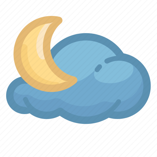and, cloud, cloudy, forecast, moon, night, weather icon