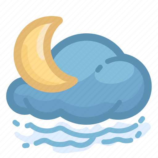 cloud, cloudy, fogg, foggy, forecast, moon, weather icon