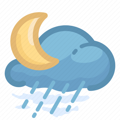 cloud, cloudy, forecast, moon, rain, rainy, weather icon