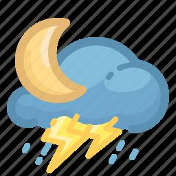 cloud, forecast, moon, rain, rainy, thunderstorm, weather icon