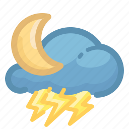 and, cloud, forecast, moon, night, thunderstorm, weather icon