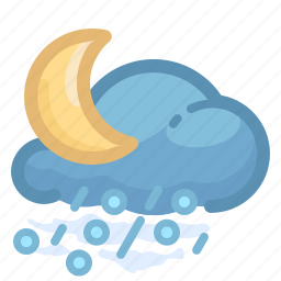 cloud, forecast, hail, moon, rain, rainy, weather icon