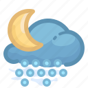 cloud, forecast, hail, moon, night, shower, weather