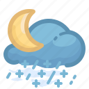 forecast, moon, rain, rainy, shower, snow, weather icon