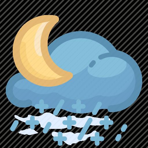 forecast, moon, rain, rainy, shower, snow, weather icon