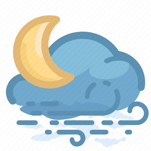 cloud, forecast, moon, overcast, weather, wind, windy icon