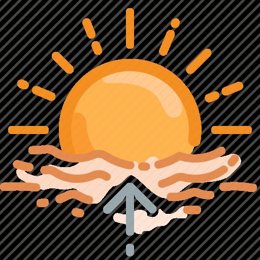 dawn, forecast, horizon, sun, sunrise, uprise, weather icon