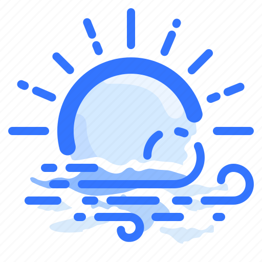 forecast, sun, sunny, weather, wind, windy icon