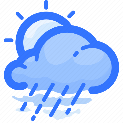 cloud, cloudy, forecast, rain, rainy, sun, weather icon