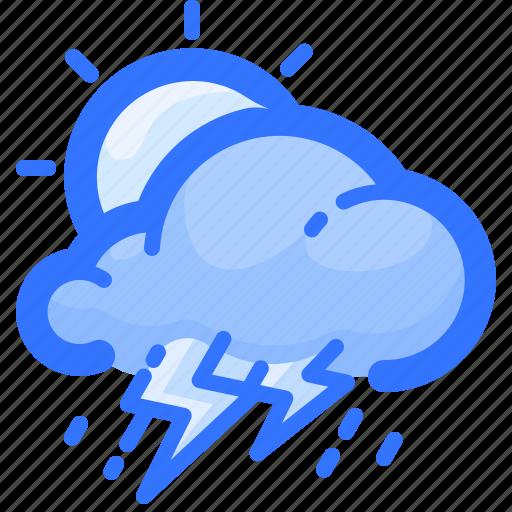 cloud, forecast, rain, rainy, sun, thunderstorm, weather icon