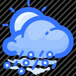 cloud, forecast, hail, rain, rainy, sun, weather icon