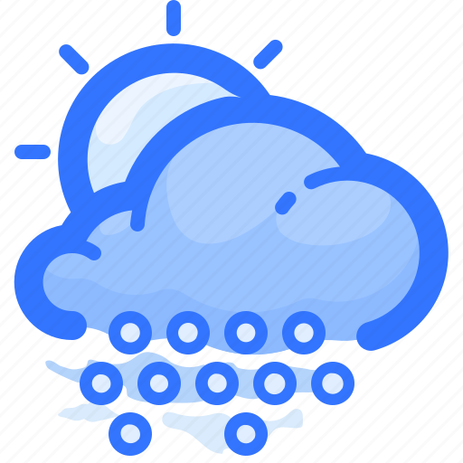cloud, day, forecast, hail, shower, sun, weather icon