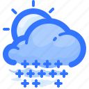 cloud, day, forecast, shower, snow, sun, weather