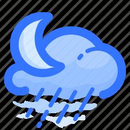 cloud, cloudy, forecast, moon, rain, rainy, weather icon