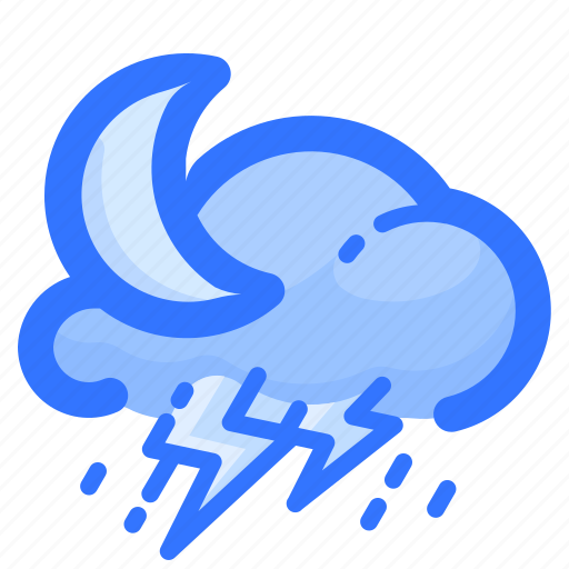 cloud, forecast, moon, rain, rainy, thunderstorm, weather icon