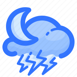 cloud, forecast, moon, night, thunderstorm, weather icon