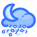 forecast, hail, moon, night, rain, rainy, weather icon