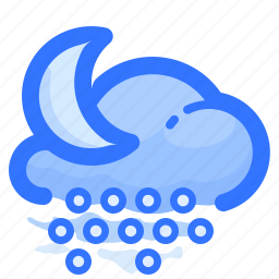 cloud, forecast, hail, moon, night, shower, weather icon