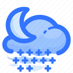 cloud, forecast, moon, night, shower, snow, weather icon