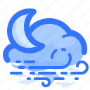 cloud, forecast, moon, night, overcast, weather, wind icon