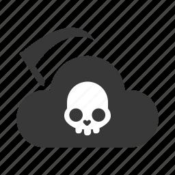 cloud, danger, dead, error, fail, problem, warning icon