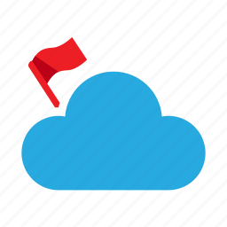 check, cloud, mark, red flag, weather icon