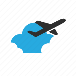 arrive, cloud, clouds, depart, fly, plane, vacation icon