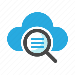 cloud, find, magnifying glass, research, search, view, zoom icon
