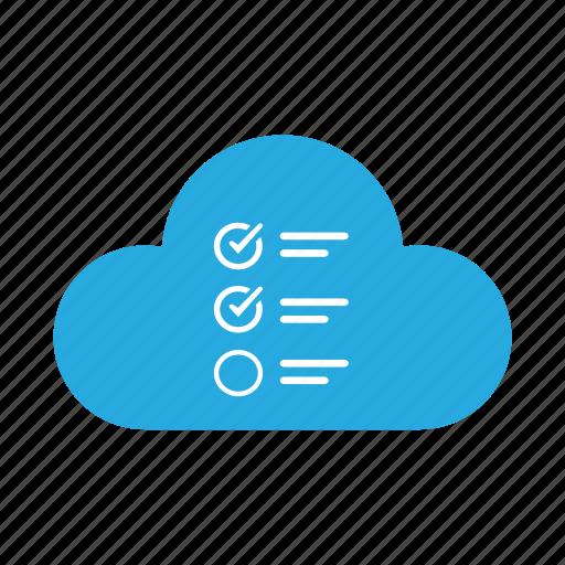 check list, cloud, document, file, list, mark, survey icon