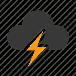 cloudy, forecast, lightning, rain, storm, thunder, weather icon