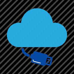 cloud, connection, drive, external drive, removable, storage, usb icon