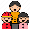 chinese, chinese new year, culture, daughter, family, greeting, son