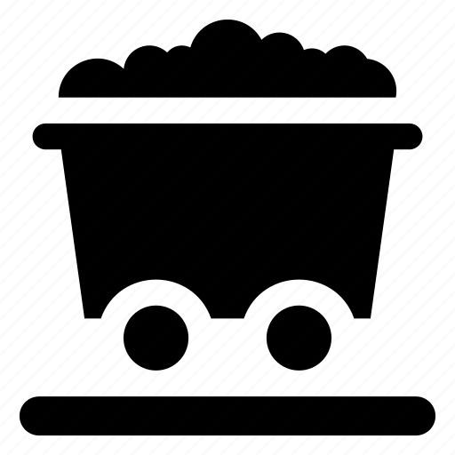 coal cart, mining cart, mining tool, mining trolley, trolley truck icon