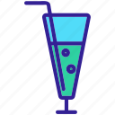 alcohol, beverage, cocktail, glass, straw icon