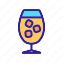 cocktail, glass, ice, juice, tropical icon