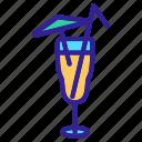 cocktail, glass, juice, straw, umbrella icon