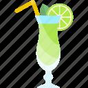 alcohol, coctails, glass, lemo, tubular icon
