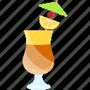 cherry, coctails, lemon, tubular, umbrella icon