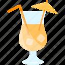 coctails, drink, glass, umbrella icon