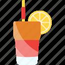 coctails, glass, lemon, tubular icon