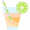 coctails, drink, glass, lime, tubular icon