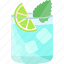 coctails, drink, mint, ice, lime