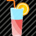 coctails, drink, orange, tubular icon